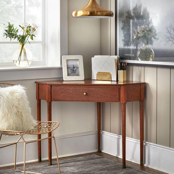 Lifestorey Mesa Mid-Century Modern Corner Desk Walnut