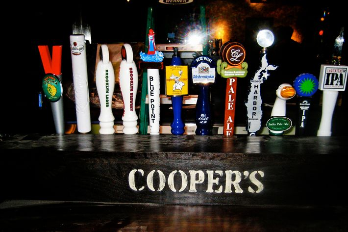 Beer taps at Cooper's Craft and Kitchen.