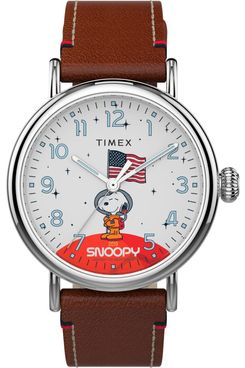 Timex x Snoopy in Space - Standard 40mm Leather Strap Watch