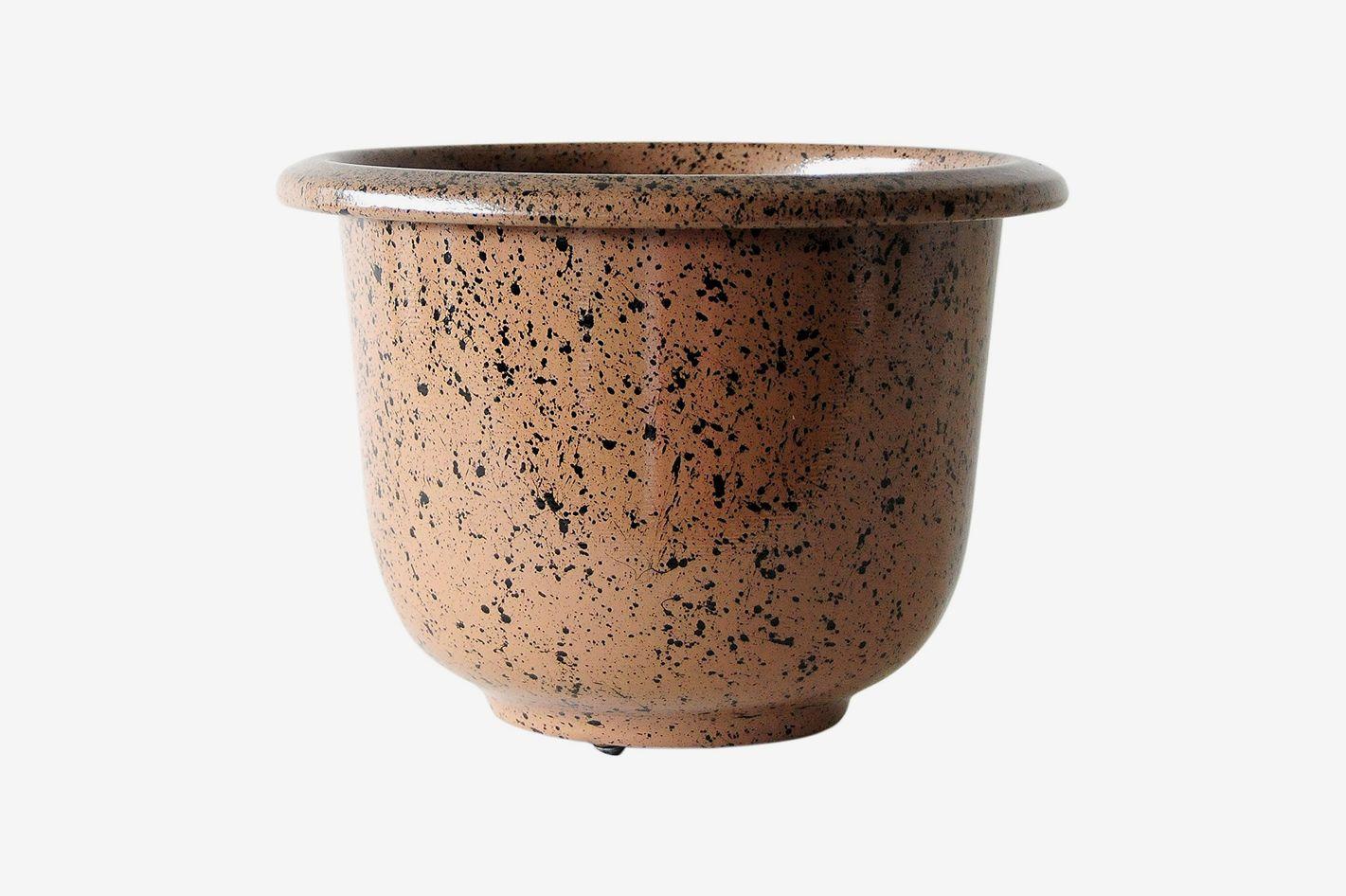 Novelty Round Glazetone Planter, 16-Inch, Mocha