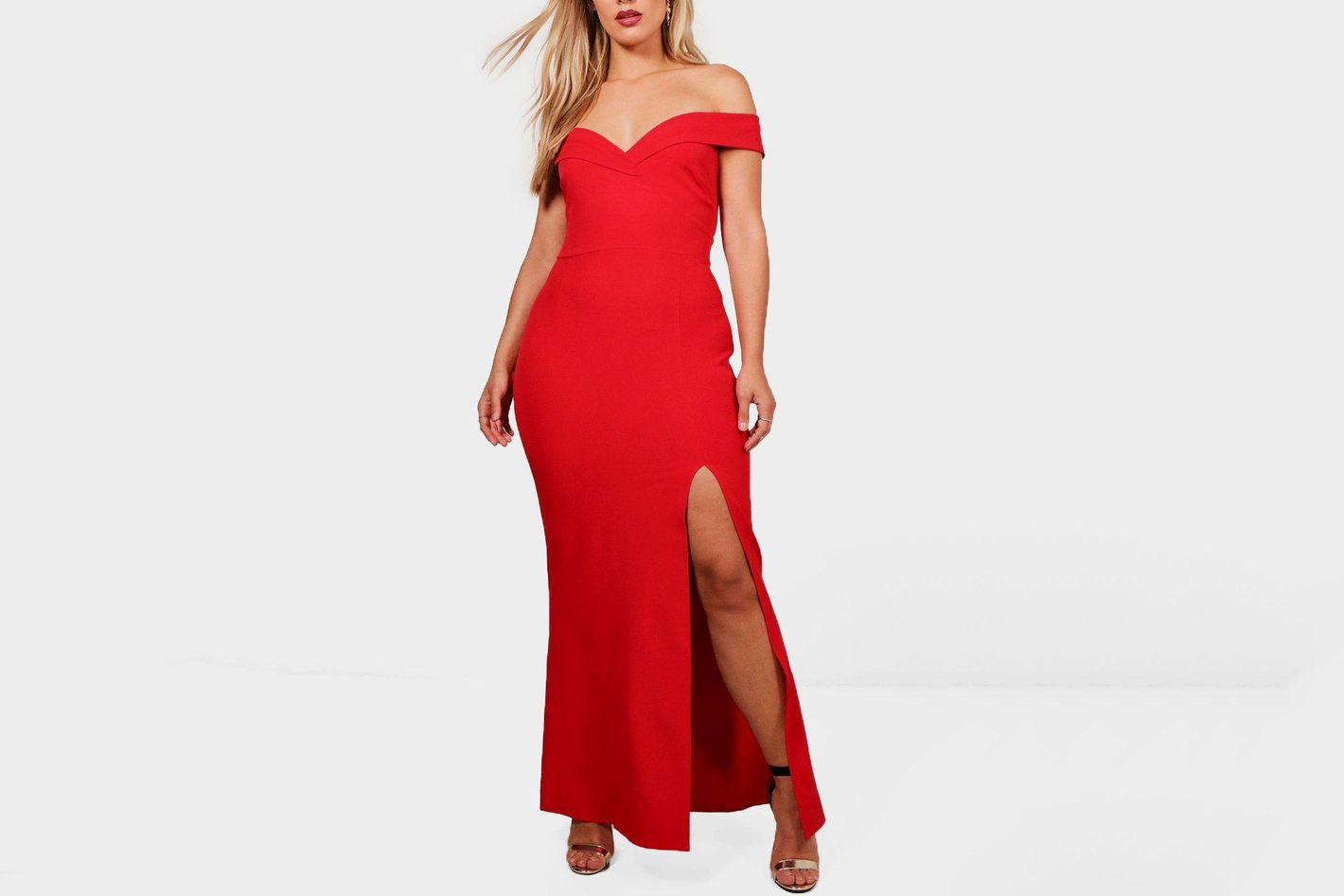 Off the Shoulder High Leg Gown