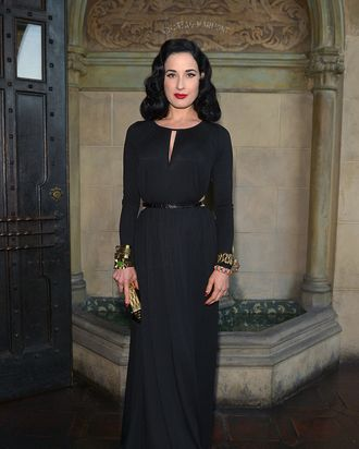 Dita Von Teese Covered Up In A Maxi Dress