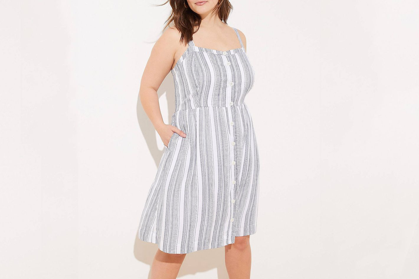 Loft Button Down Pocket Flare Dress in Blue Stripes