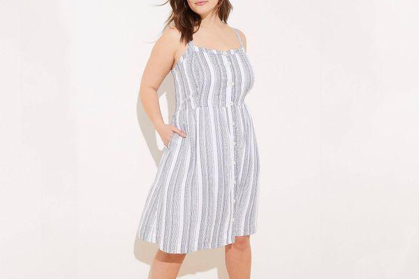 Loft Button-Down Pocket-Flare Dress in Blue Stripes