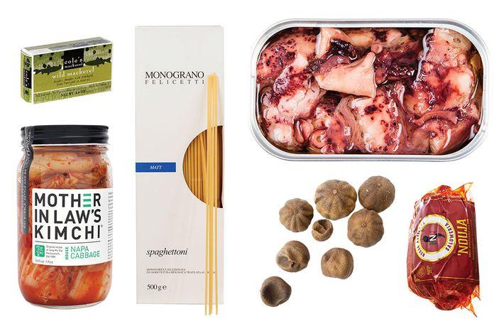 Clockwise, from top left: Cole's mackerel, Monograno Felicetti Matt pasta, Jose Gourmet octopus, 'Nduja Artisans, limes, Mother in Law's kimchee.