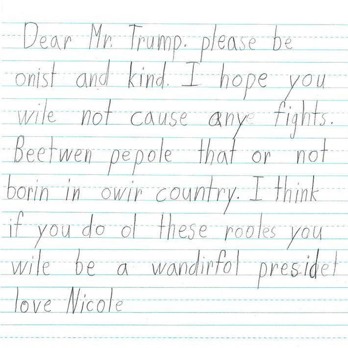 letters to trump from first grade students in california