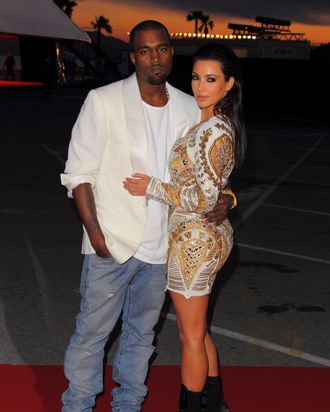 CANNES, FRANCE - MAY 23: Kanye West and Kim Kardashian attend The 'Cruel Summer' presentation during the 65th Annual Cannes Film Festival on May 23, 2012 in Cannes, France. (Photo by Mike Marsland/WireImage)