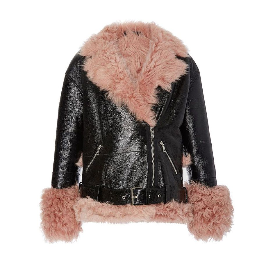 Sandy Liang Bowery petal pink shearling leather jacket