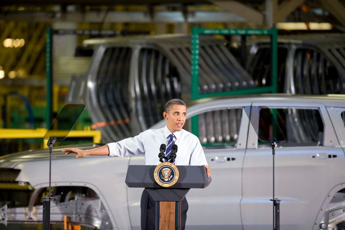 U.S. President Barack Obama speaks at Chrysler Group LLC's Jefferson North Assembly Plant in Detroit, Michigan, U.S., on Friday, July 30, 2010. Obama, in the heart of the U.S. auto industry, told a crowd of workers that the government bailouts of General Motors Co. and Chrysler Group LLC are giving taxpayers a return on their investment.