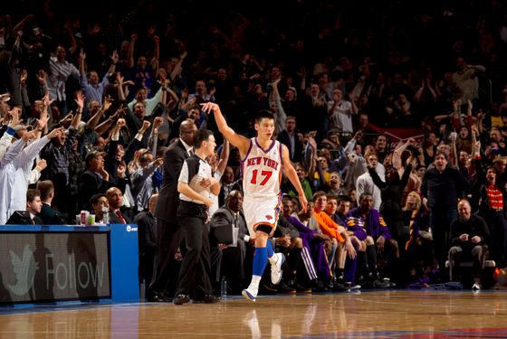 Jeremy Lin #17 of the New York Knicks reacts to the crowd after hitting a three point shot during the game against the Los Angeles Lakers on February 10, 2012 at Madison Square Garden in New York City.