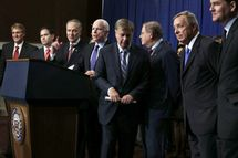 "(L-R) U.S. Sen. Jeff Flake (R-AZ), Sen. Marco Rubio (R-FL), Sen. Charles Schumer (D-NY), Sen. John McCain (R-AZ), Sen. Lindsey Graham (R-SC), Sen. Bob Menendez (D-NJ), Sen. Richard Durbin (D-IL), and Sen. Michael Bennet (D-CO), also known as the Gang of Eight, speak to members of the media during a news conference on immigration reform April 18, 2013 on Capitol Hill in Washington, DC. The senators discussed the ""Border Security, Economic Opportunity, and Immigration Modernization Act""."