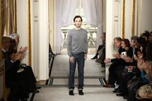 Designer Nicholas Ghesquiere on the runway after his Balenciaga fall 2009 show in Paris.