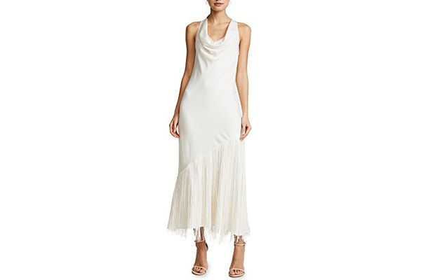 Elizabeth and James Cowl Neck Dress with Fringe