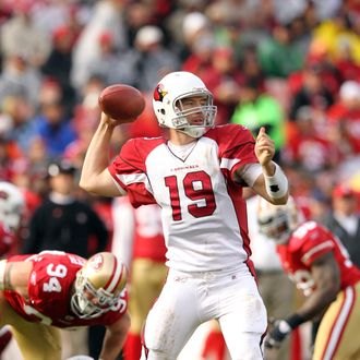 SAN FRANCISCO, CA - NOVEMBER 20: John Skelton #19 of the Arizona Cardinals throws the ball against the San Francisco 49ers at Candlestick Park on November 20, 2011 in San Francisco, California. (Photo by Ezra Shaw/Getty Images)