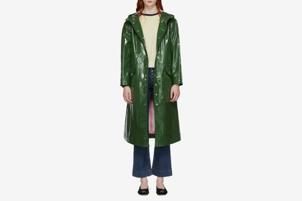 ALEXACHUNG Green Hooded Raincoat