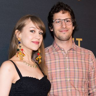 NEW YORK, NY - MAY 05: Actor Andy Samberg (R) and his fiance, musician Joanna Newsom attend MasterCard Priceless premieres presents Justin Timberlake at Roseland Ballroom on May 5, 2013 in New York City. (Photo by Gilbert Carrasquillo/FilmMagic)