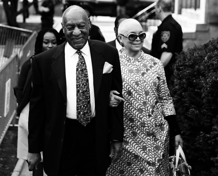 Bill and Camille Cosby arriving to his sexual assault trial in April.