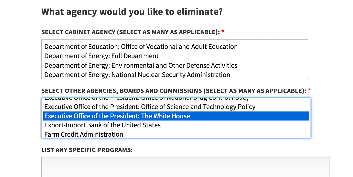 white house poll lets you vote to eliminate the white house