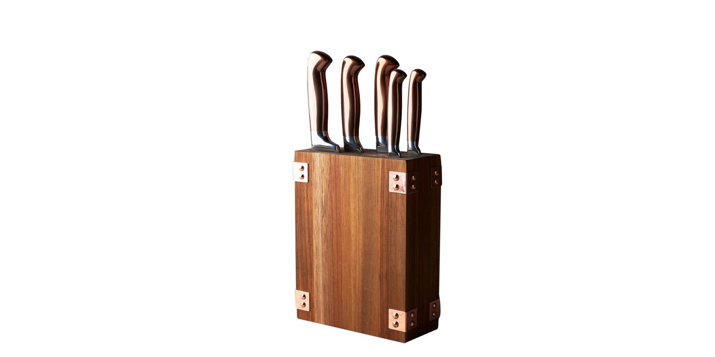 Wood and copper knife block