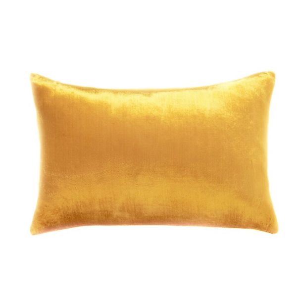 CB2 18-Inch-by-12-Inch Viscose Mustard Velvet Pillow with Feather-Down Insert