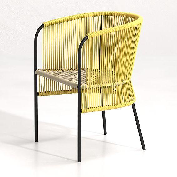 Crate & Barrel Verro Yellow Outdoor Dining Chair