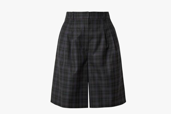 Tibi Checked Twill Shorts