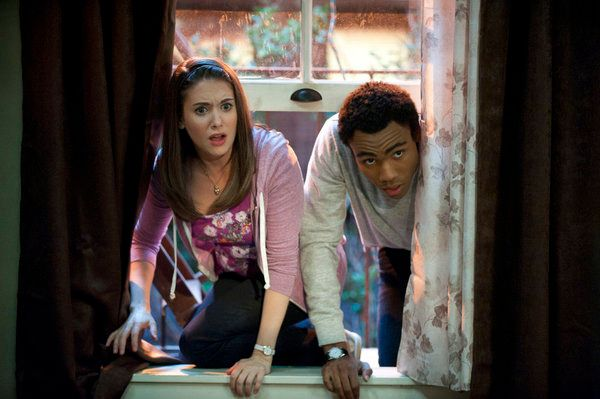 "COMMUNITY -- ""Football and Nocturnal Vigilantism"" Episode 309 -- Pictured: (l-r) Alison Brie as Annie, Donald Glover as Troy."