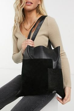 Urbancode Leather and Suede Mix Tote Bag in Black