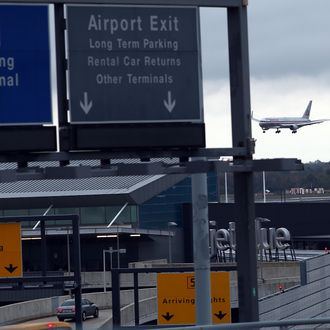 NEW YORK, NY - OCTOBER 11: A plane arrives at New York's John F. Kennedy Airport (JFK ) airport on October 11, 2014 in New York City. Ebola screenings began on Saturday at JFK for travelers arriving from West African countries that have been afftected by the disease. (Photo by Spencer Platt/Getty Images)