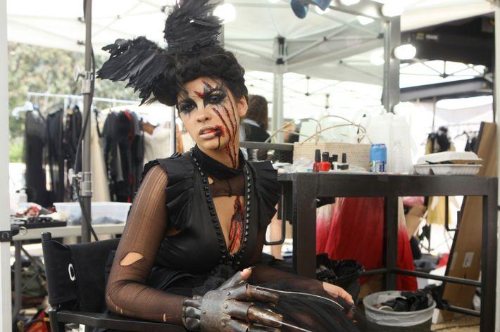 Allyssa on the zombie-themed photo shoot.