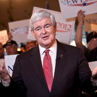 SPARTANBURG, SC - JANUARY 21: Republican presidential candidate, former Speaker of the House of Representatives Newt Gingrich speaks during a live television interview during a campaign stop at the Grapevine Restaurant on January 21, 2012 in Spartanburg, South Carolina. Voters in South Carolina will head to the polls today to vote in the primary election for the U.S. presidential candidate. (Photo by John W. Adkisson/Getty Images)