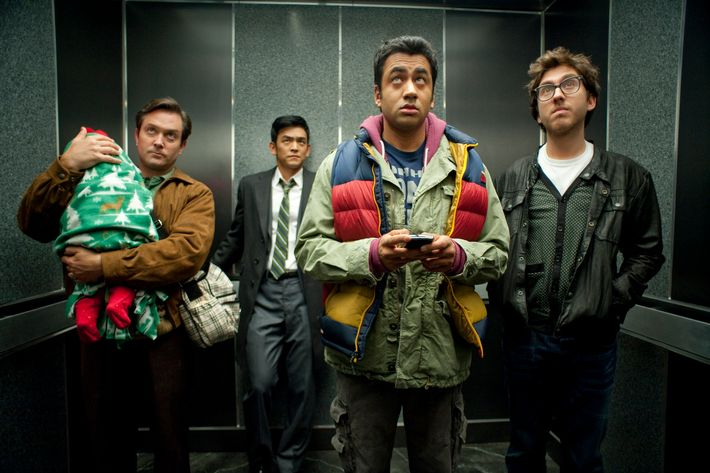 """(L-r) TOM LENNON as Todd, JOHN CHO as Harold, KAL PENN as Kumar and AMIR BLUMENFELD as Adrian in New Line Cinema's and Mandate Pictures' comedy """"A VERY HAROLD & KUMAR 3D CHRISTMAS,"""" a Warner Bros. Pictures release."""