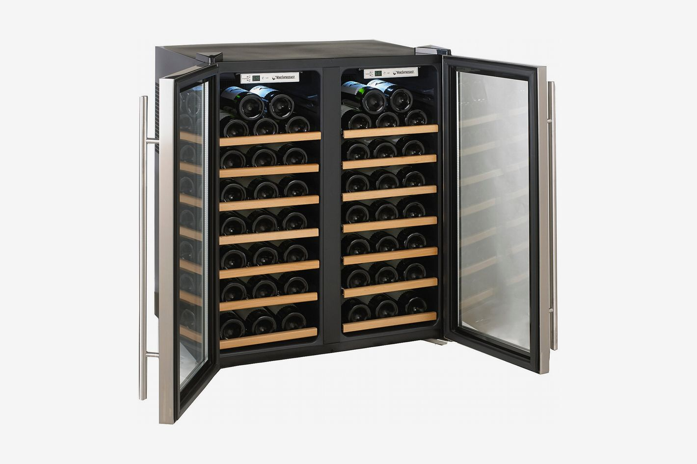 Wine Enthusiast Silent 48 Bottle Double Door Dual Zone Wine Refrigerator