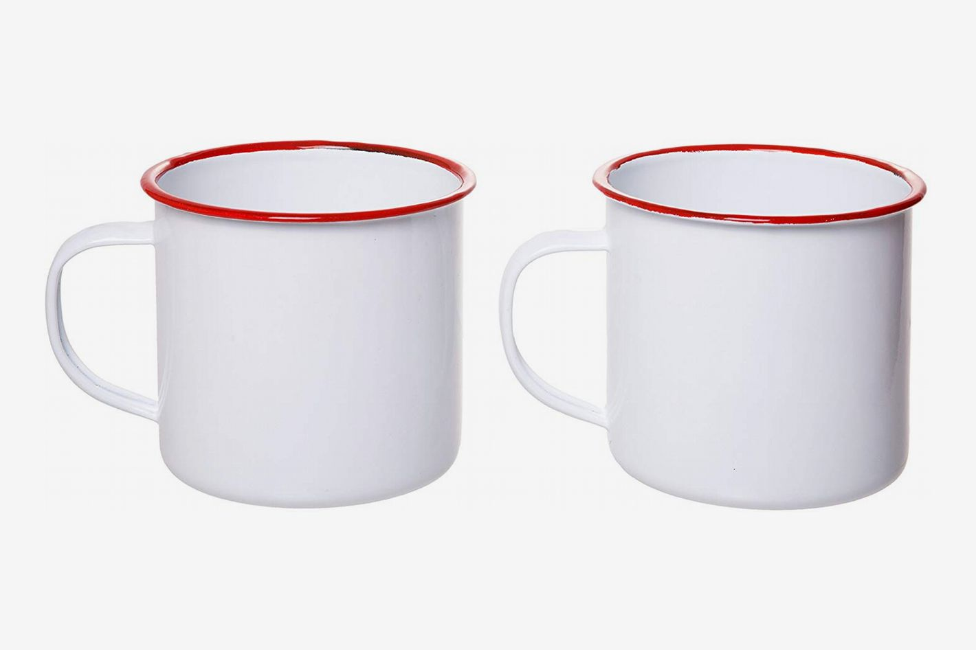 Red Co. White Distressed Enamelware Tin Coffee Mugs with Red Rim