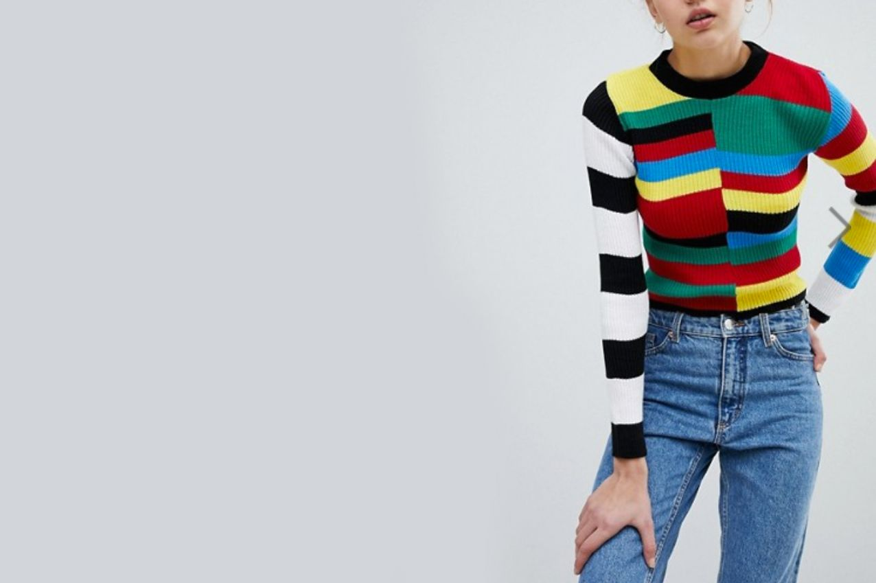Daisy Street Skinny Knit Sweater In Color Block Rainbow Stripe