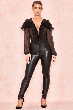 House of CB Cora Black Matte Vegan Leather Stretch Pants
