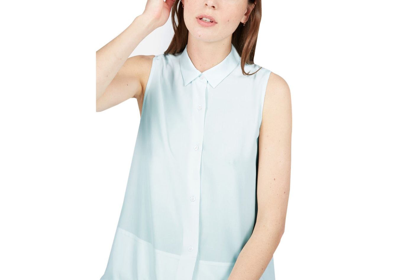 Everlane the Silk Sleeveless Square Shirt