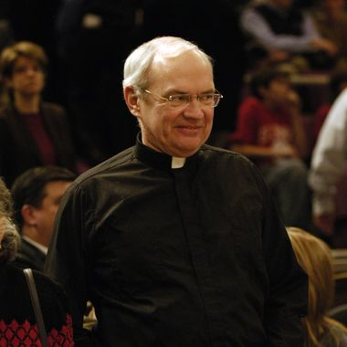 St. John's University Rev.  Donald Harrington, attends game against Georgetown Hoyas at Madison Square Garden. (Photo By: James Keivom/NY Daily News via Getty Images)