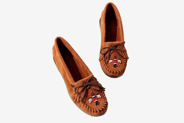 Minnetonka Thunderbird Brown Suede Beaded Moccasin