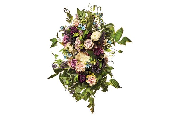 Preserve rose, garden spray rose, ranunculus, tweedia, Solomon's seal, smoke bush, flaxseed, and Japanese passionflower vine