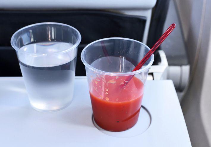 Tomato juice on plane.
