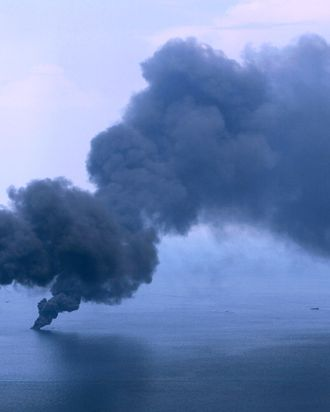 Oil burns and creates plumes of smoke near the site of the Deepwater Horizon oil spill on June 19, 2010 in the Gulf of Mexico off the coast of Louisiana. The BP oil spill has been called one of the largest environmental disasters in American history.
