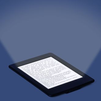 black ebook reader or tablet on white background