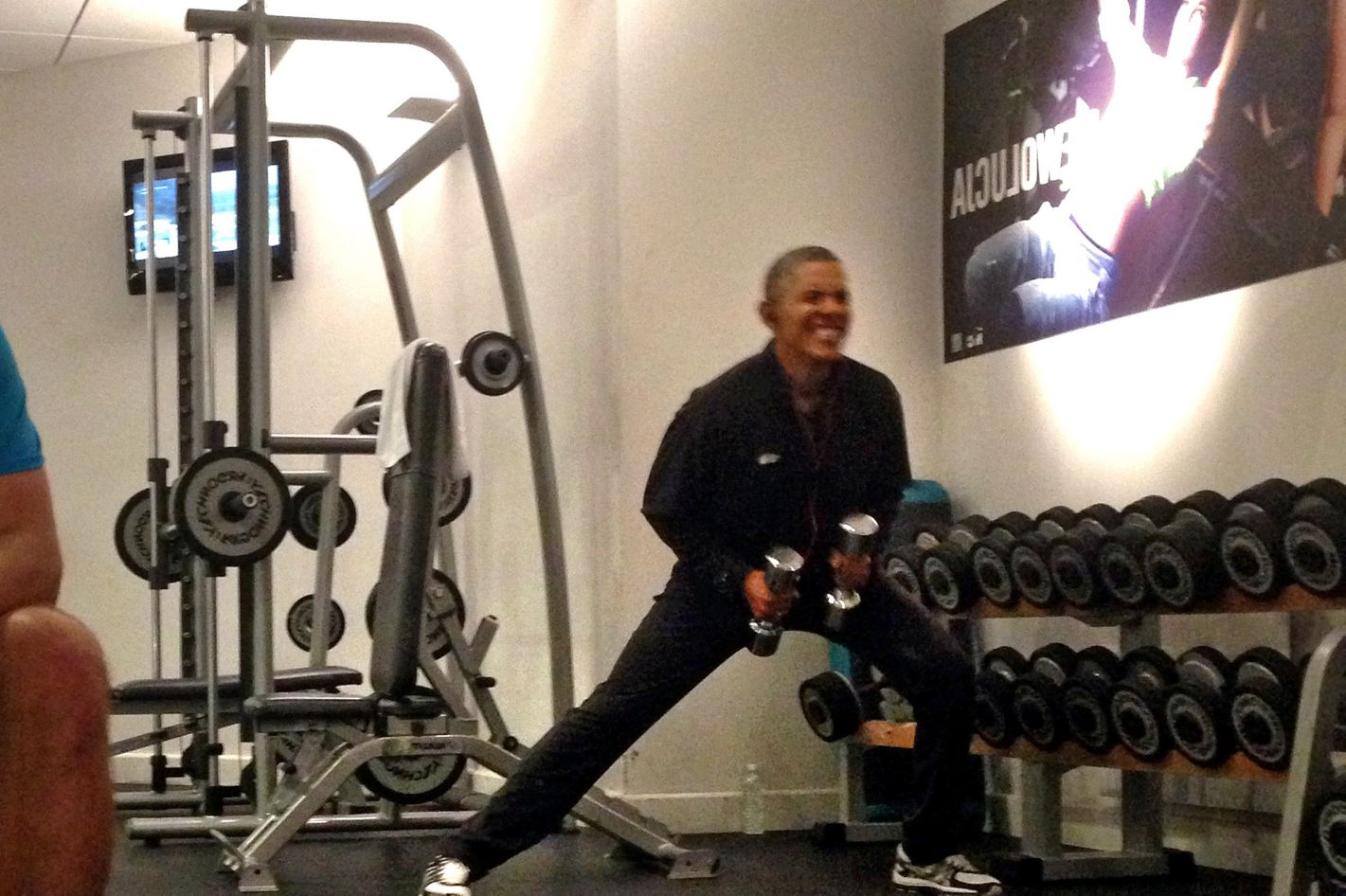 barack obama works out an awkward photo essay