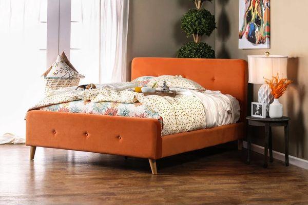 Furniture of America Leandra Upholstered Platform Bed