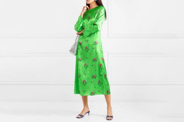 BERNADETTE Neon Floral Print Midi Dress