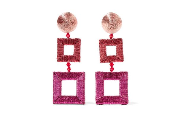 OSCAR DE LA RENTA Beaded silk clip earrings