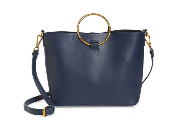 Street Level Ring Handle Faux Leather Tote & Zip Pouch