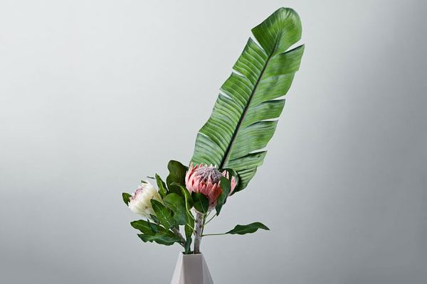 Metaflora Faux Banana Leaf + Protea Bouquet