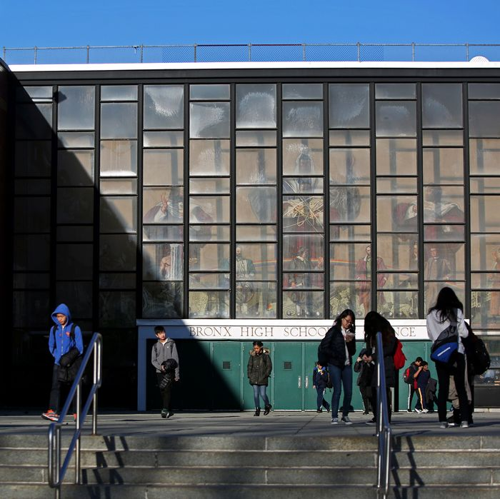 Children outside the Bronx High School of Science.